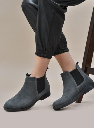 Vizon Ayakkabı Hakiki Deri Bot Gri